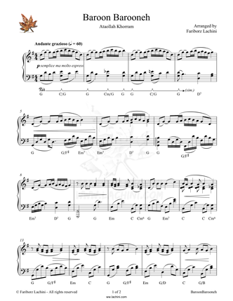 Baroon Barooneh Sheet Music