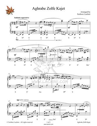 Aghrabe Zolfe Kajet Musiknoten
