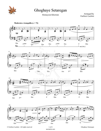 Ghoghaye Setaregan Sheet Music