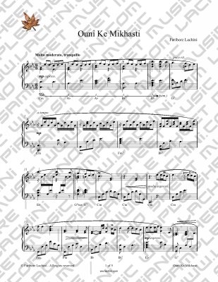 Ouni Ke Mikhasti Sheet Music