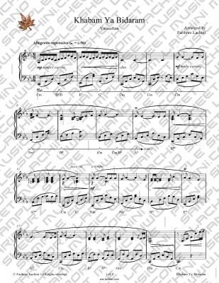 Khabam Ya Bidaram Sheet Music