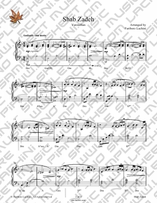 Shab Zadeh Sheet Music