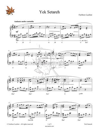 Yek Setareh Sheet Music
