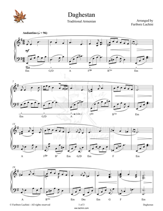 Daghestan Sheet Music