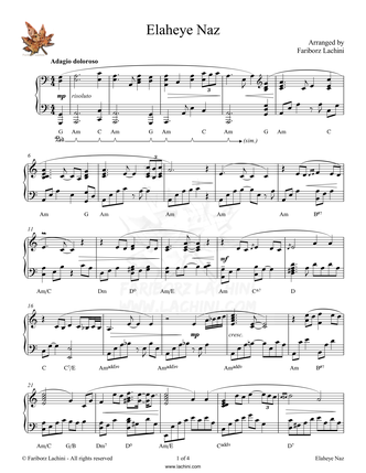 Elaheye Naz Sheet Music
