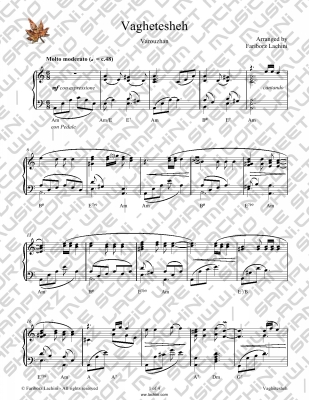 Vaghtesheh Sheet Music