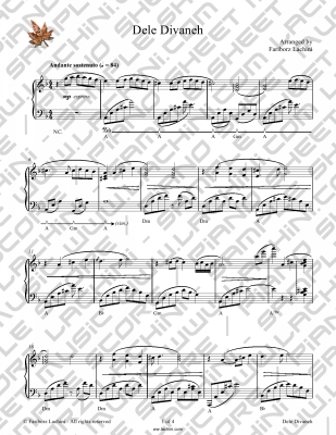 Dele Divaneh Sheet Music