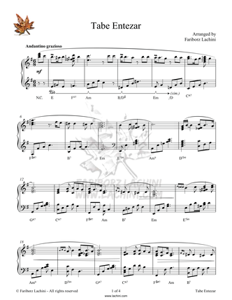 Tabe Entezar Sheet Music