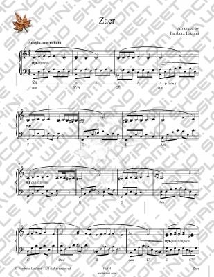 Zaer Sheet Music