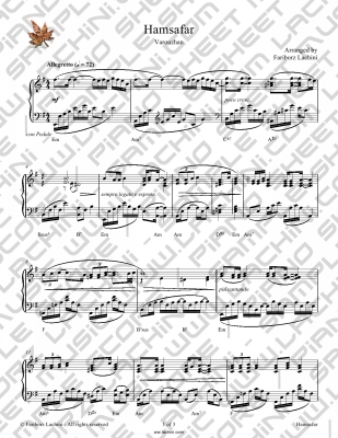 Hamsafar Sheet Music