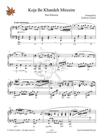 Koja be Khandeh Miresim Sheet Music