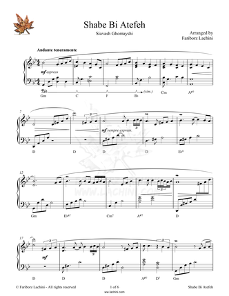 Shabe Bi Atefeh Sheet Music