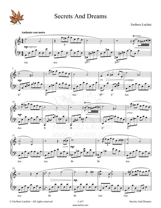 Secrets and Dreams Sheet Music