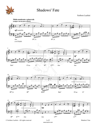 Shadows` Fate Sheet Music