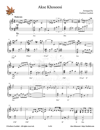Akse Khosoosi Sheet Music
