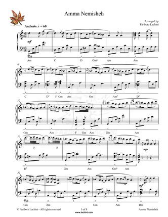 Amma Nemisheh Sheet Music