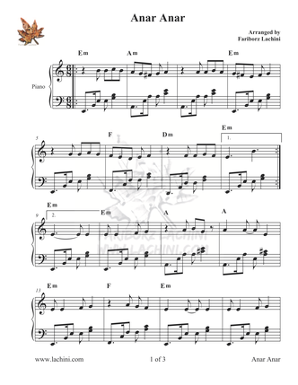 Anar Anar Sheet Music