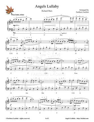 Angels Lullaby Sheet Music