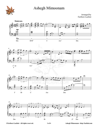 Ashegh Mimoonam Sheet Music