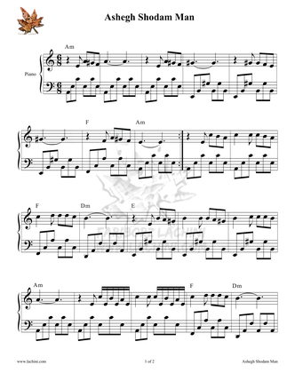 Ashegh Shodam Man Sheet Music