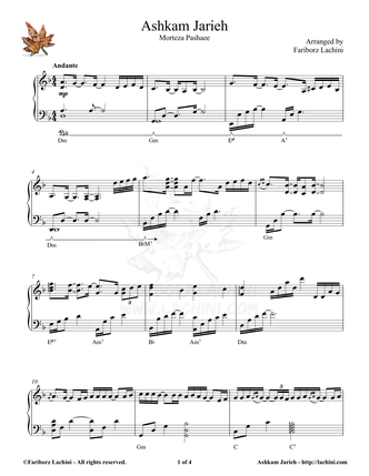 Ashkam Jarieh Sheet Music