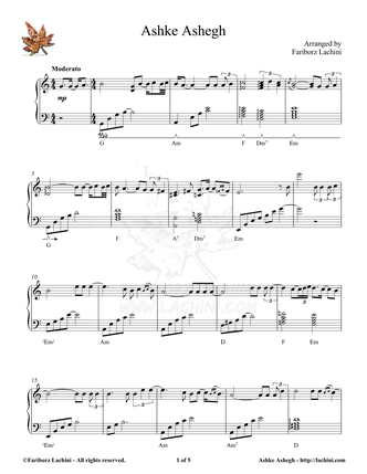 Ashke Ashegh Sheet Music