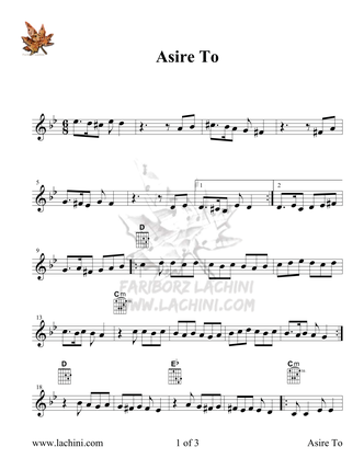 Asire To Sheet Music