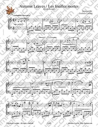Les feuilles mortes 音乐页
