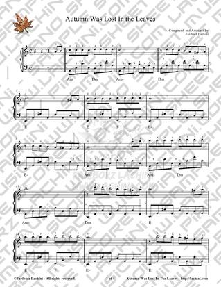 Autumn Was Lost in the Leaves - Easy Piano Sheet Music