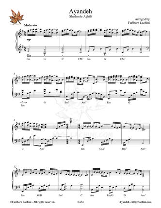 Ayandeh Sheet Music
