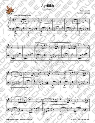 Ayrilikh 2 Sheet Music