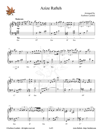 Azize Rafteh Sheet Music