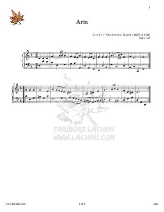 Anna Magdalena Aria - BWV 515 نت آهنگ
