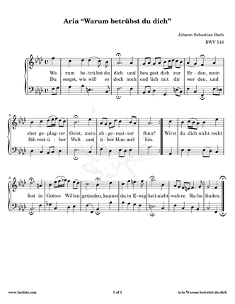 Aria - BWV 516 Sheet Music