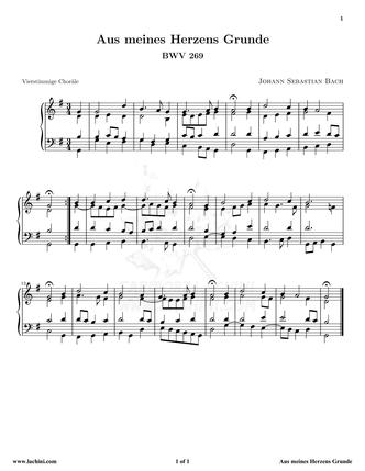 Aus Meines Herzens Grunde 音乐页