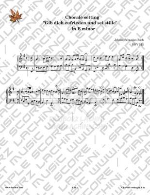 Gib Dich Zufrieden und Sei Stille - E minor Sheet Music