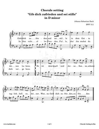 Gib Dich Zufrieden und Sei Stille - D minor Sheet Music