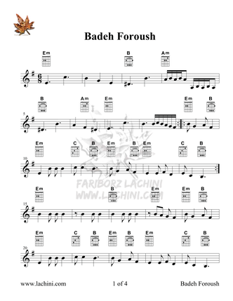 Badeh Foroush Sheet Music