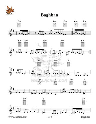 Baghban Sheet Music