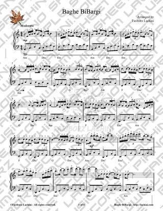 Baghe BiBargi Sheet Music