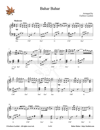 Bahar Bahar Sheet Music
