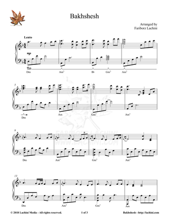 Bakhshesh Sheet Music