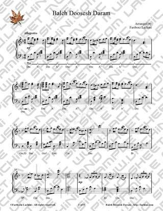 Baleh Doosesh Daram Sheet Music