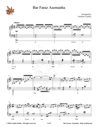 Bar Faraze Asemanha Sheet Music