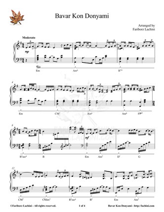 Bavar Kon Donyami Sheet Music