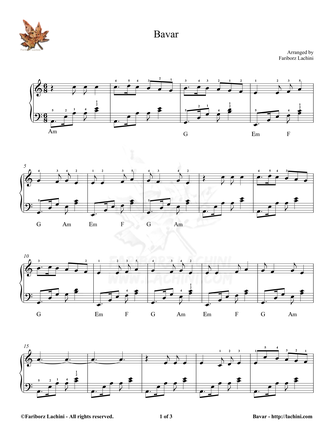 Bavar Sheet Music