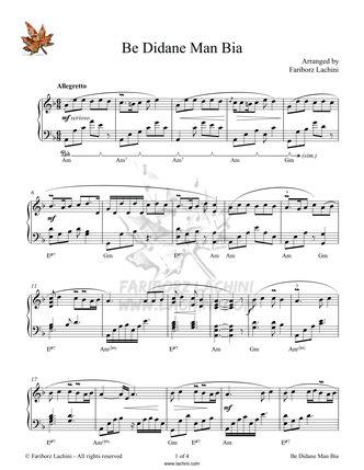 Be Didane Man Bia Sheet Music