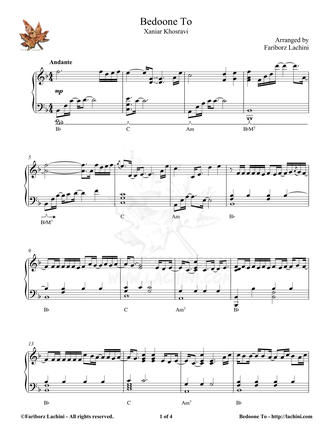 Bedoone To Sheet Music