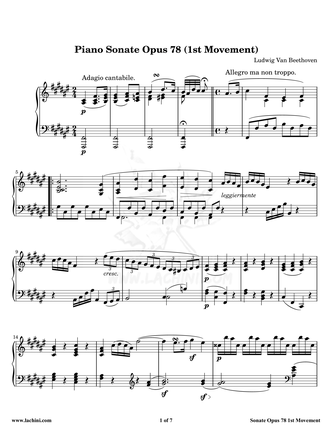 Piano Sonate Opus 78 - 1st Movement Sheet Music