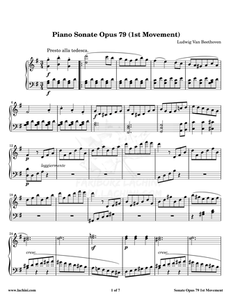 Piano Sonate Opus 79 - 1st Movement نت آهنگ